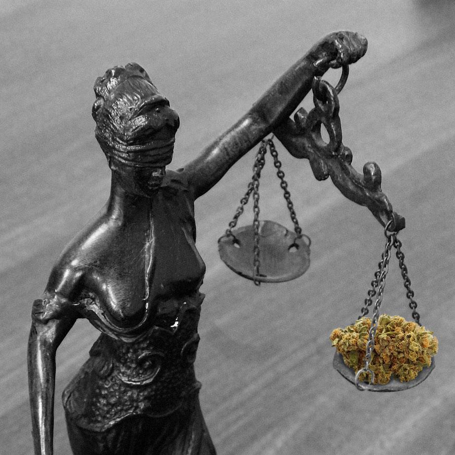 Vrouwe Justitia en haar oordeel over cannabis