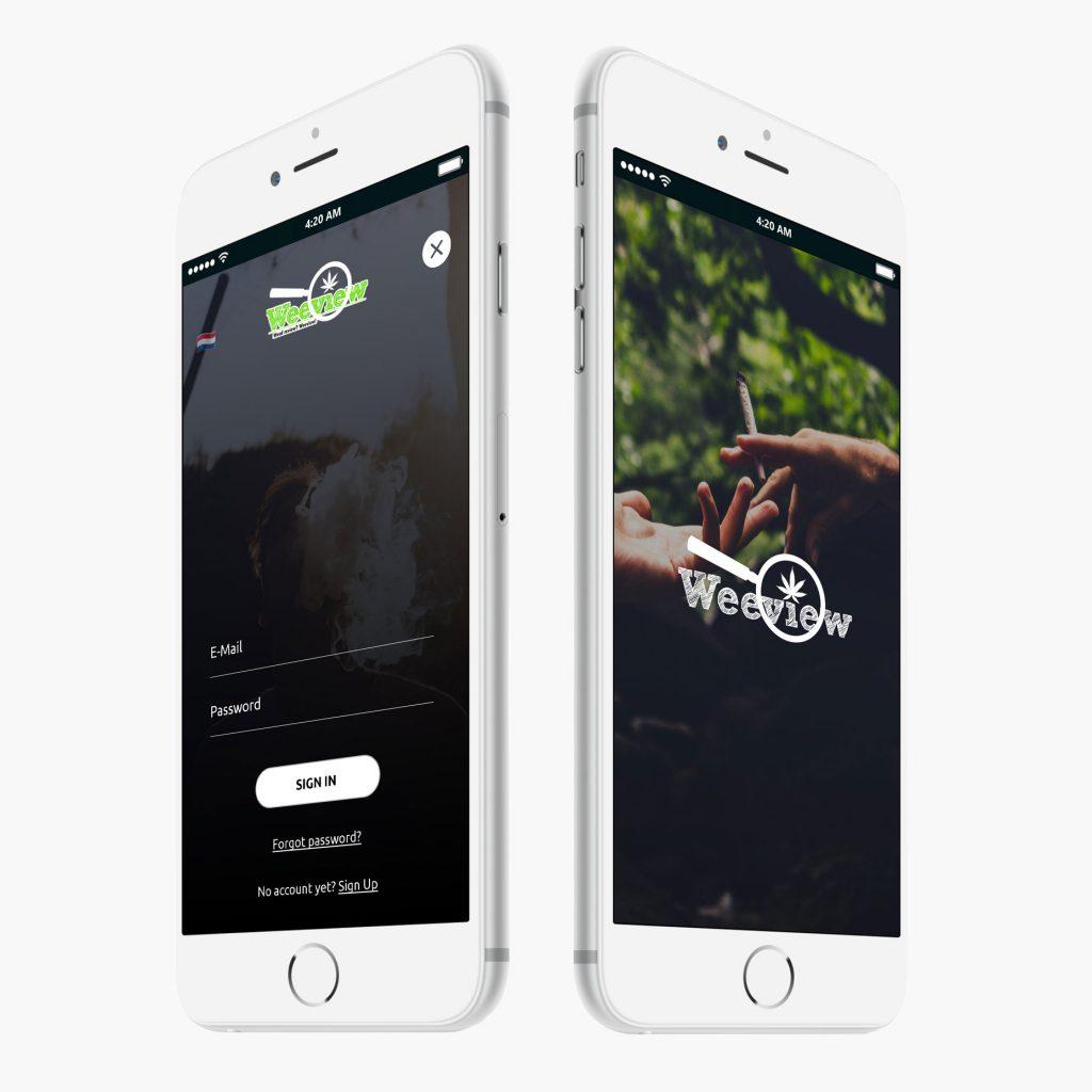 Weeview app startscherm op iPhone